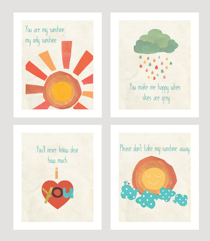 You Are My Sunshine Mini Collection - Set of Four 5 x 7 Wall Cards