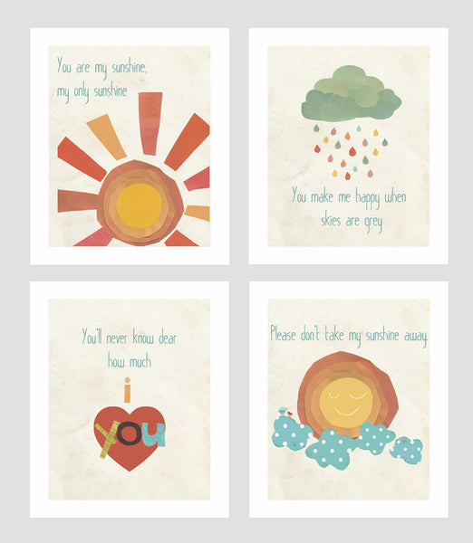 You Are My Sunshine Collection - Set of Four 8 x 10 Prints
