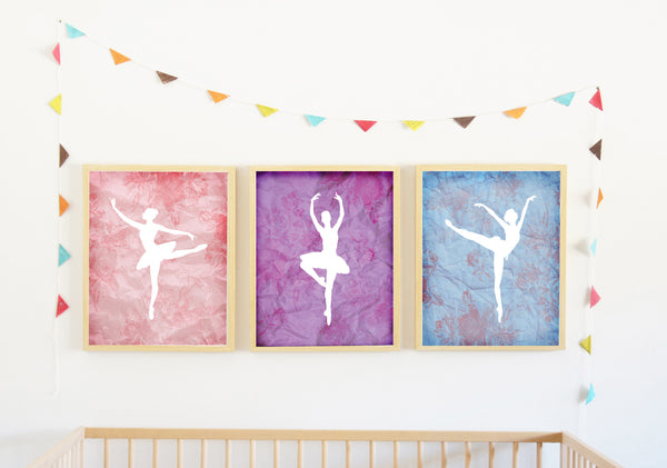 Canvas or Print, Tiny Ballerina Dancer Collection Set of 3
