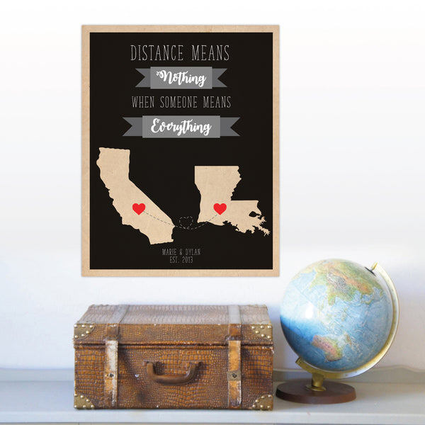 Long Distance Relationship Map, Distance Means Nothing Print, Personalized World Map, Travel Map, Custom Map Couples Gift Long distance Love