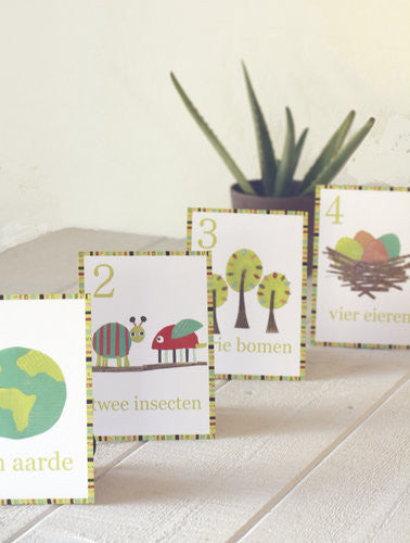 Multi Language Number Wall Cards Dutch