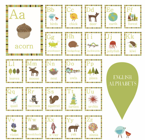 Nature Alphabet Wall Cards -  Set of 26 Wall Cards