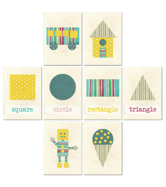 Collection Shapes with Fabric 5x7 - Set of 8