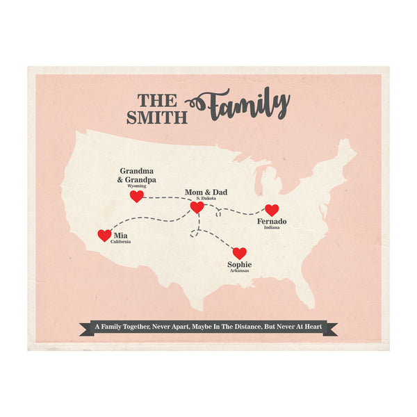 Long Distance Family Map, Personalized Grandparent Family Gift,  USA Map