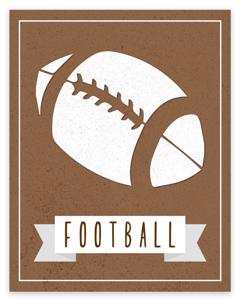 Canvas or Print, Sport Balls: Football, Pick Your Own Color!