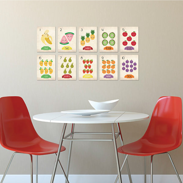 Fruits Counting Cards, Number Flash Cards 1 - 10