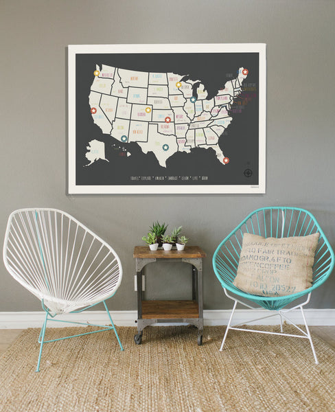 Personalized USA Travel Map, Canvas or Print, Travel, Inspirational