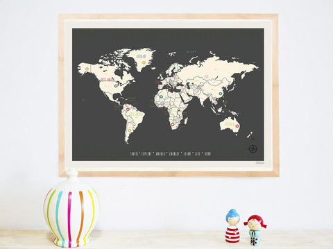 Personalized World Travel Map, Canvas or Print, Travel, Inspirational