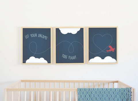 Canvas or Print, Let Your Dreams Take Flight Collection, Nursery decor, Baby's room, Playroom