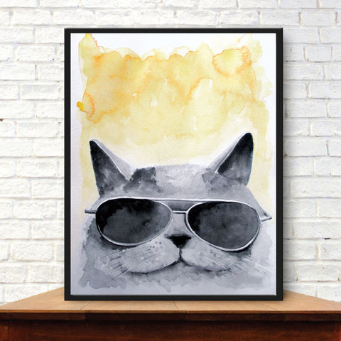 Whimsical Cat, Cool Cat, Catnip Print, Watercolor Painting, Playroom Decor