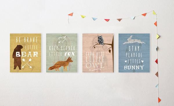 Canvas or Print, Collection Inspirational Animals, Set of 4