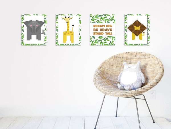 Print or Canvas, Collection Jungle Animals, Set of 4