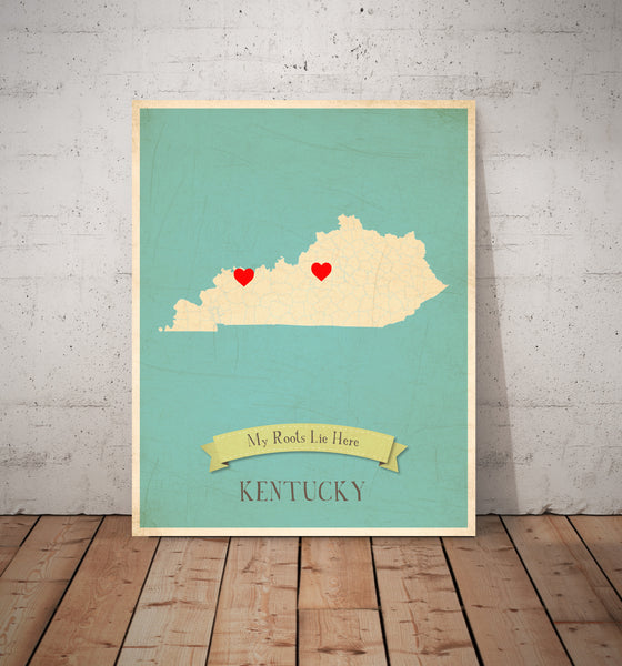 My Roots Customizable US Map Print- Choose Your State