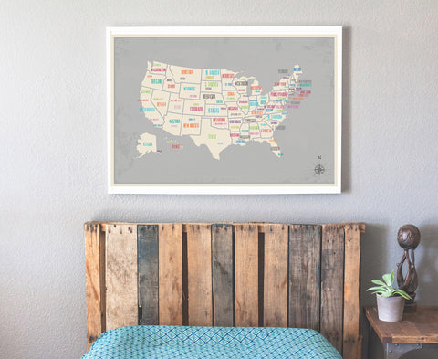 USA Map with Capitals in Gray, Educational decor, Playroom, Nursery Wall Art