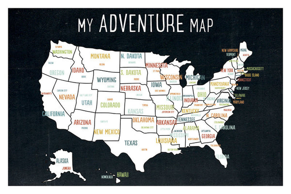 My Adventures USA Wall Art Map Black
