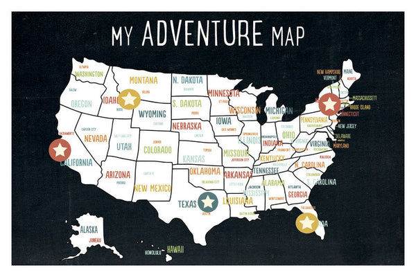 My Adventures USA Wall Art Map Black with stickers