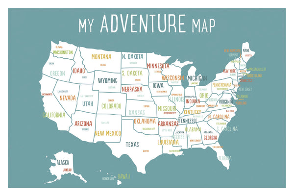My Adventures USA Wall Art Map Blue