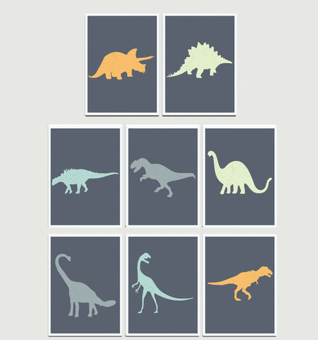 Dinosaur Wall Cards - Set of Eight 5 x 7 in, Playroom, Kid's Room Decor
