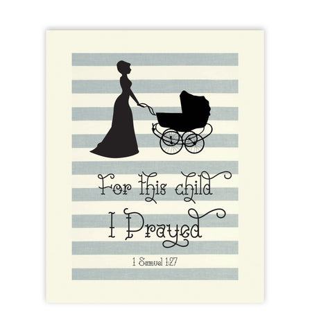 For This Child I Prayed - Lady, Canvas or Print, Biblical Quote, Religious Art