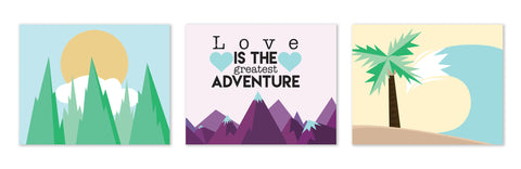 Print or Canvas,  Collection Love Is The Greatest Adventure, Set Of 3