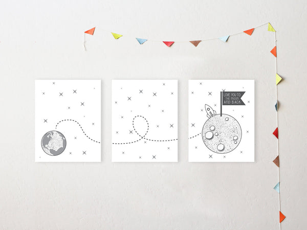 Canvas or Print, Love You To The Moon And Back, Set Of 3