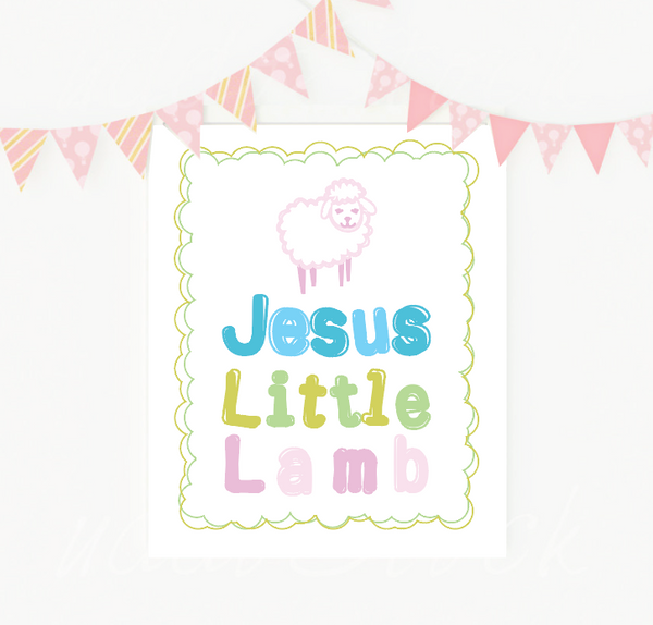 Print or Canvas, Jesus Little Lamb In Pink Sheep