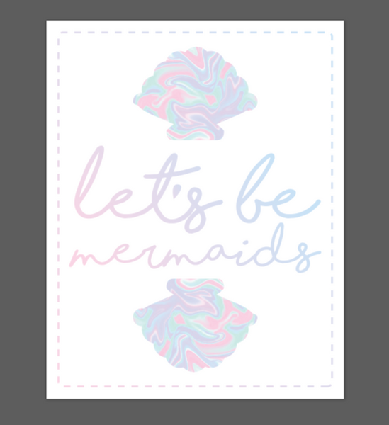 Print or Canvas, Let's Be Mermaids Colorful Shells