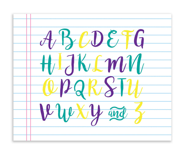 Canvas or Print, Alphabet Note Pad, ABC, Educational Art