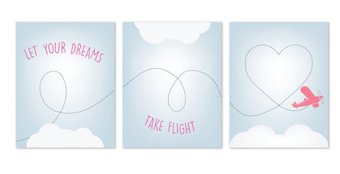 Canvas or Print, Let Your Dreams Take Flight Collection in Pink Set of 3