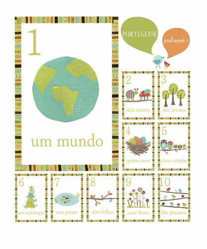 Multi Language Number Wall Cards Portuguese