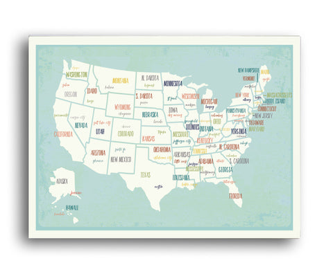 USA Capital Map Poster