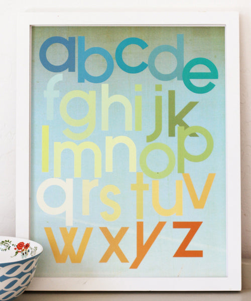 Mod Citrus Alphabet 11x14 Print or Canvas, Educational Art