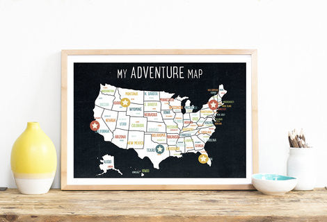My Adventures USA Wall Art Map