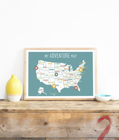 My Adventures USA Wall Art Map Blue with stickers