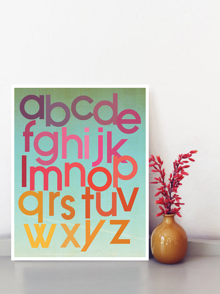 Mod Berry Alphabet, Print or Canvas, Educational Art