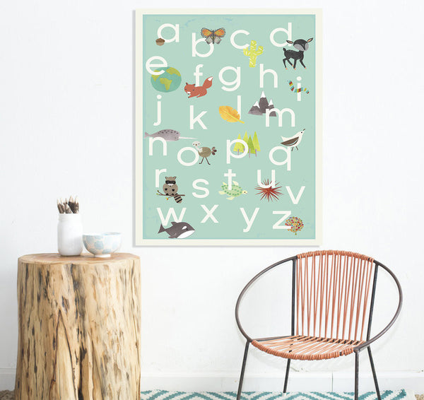 Our World Alphabet in Blue Print or Canvas, ABC, Educational, Playroom Decor