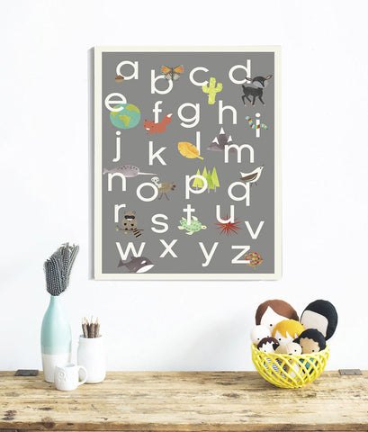 Our World Alphabet in Grey Print