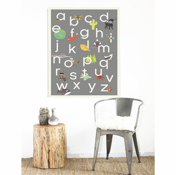 Our World Alphabet in Grey Print, ABC, Educational, Playroom Decor