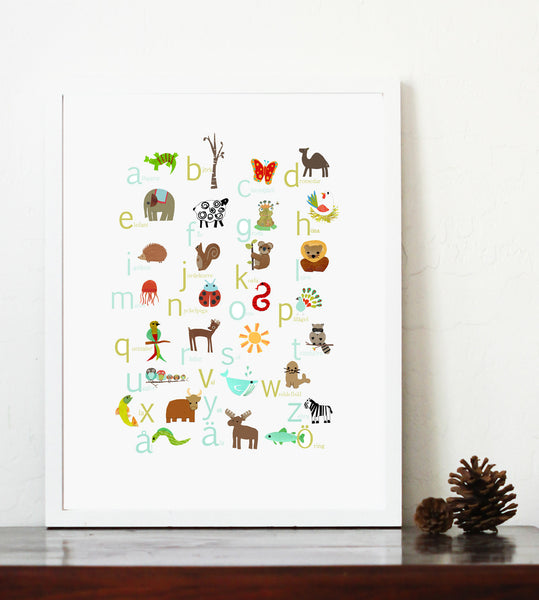 Multi Language Alphabet Swedish Print