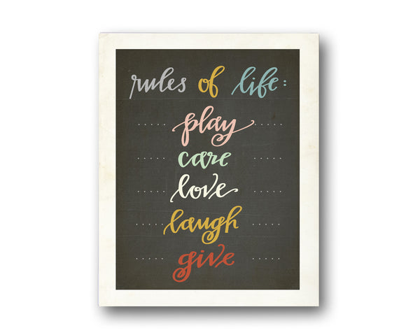 Rules of Life Collection - Set of Four 11 x 14 Prints