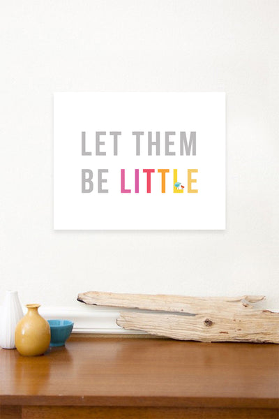 Let Them Be Little in Pink Children's 11x14 Wall Art, Canvas or Print, Inspirational Wall Decor