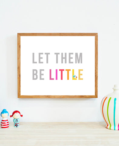 Let Them Be Little in Pink Children's Wall Art Print