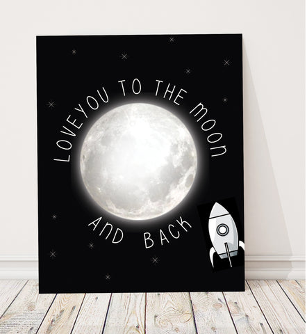 Canvas or Print, Love You To The Moon and Back - Rocket