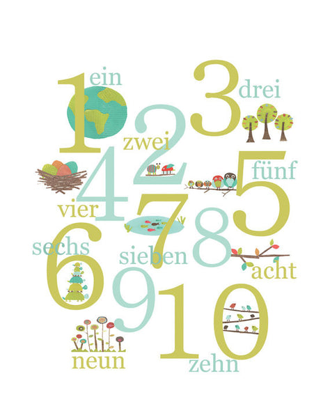Multi Language Numbers Poster, Children's Nature Themed Counting Print
