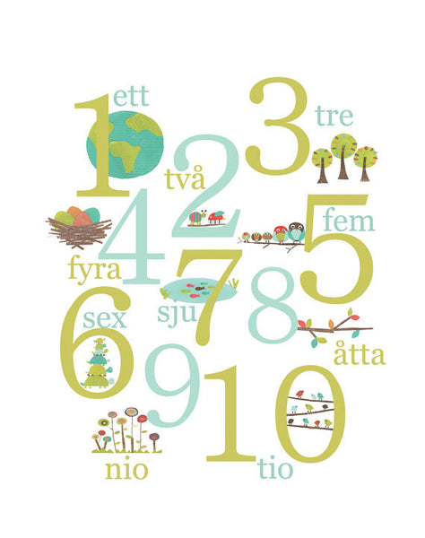 Numbers Poster - Multi Language Canvas or Print, Children's Nature Themed Counting Poster