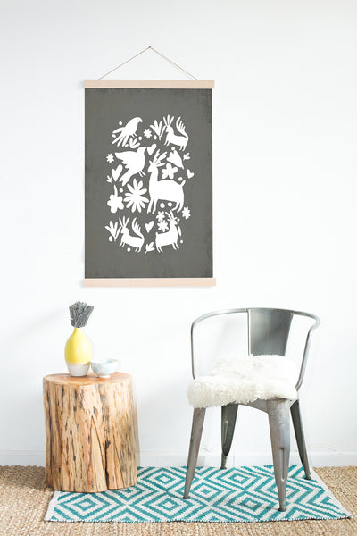 White Otomi on Grey Wall Art Print, Kids Room Decor, Family Wall Decor, Mexican Wall Art, Latin Decor