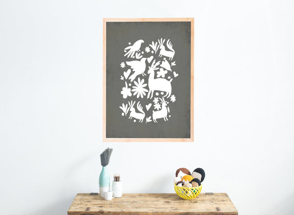 White Otomi On Grey Wall Art Canvas Or Print Kids Room Decor Family Wall Decor Mexican Wall Art Latin Decor