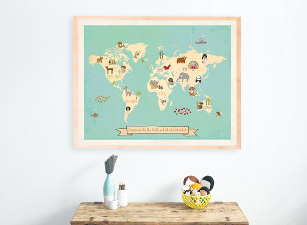 Global Compassion Wall Art Map