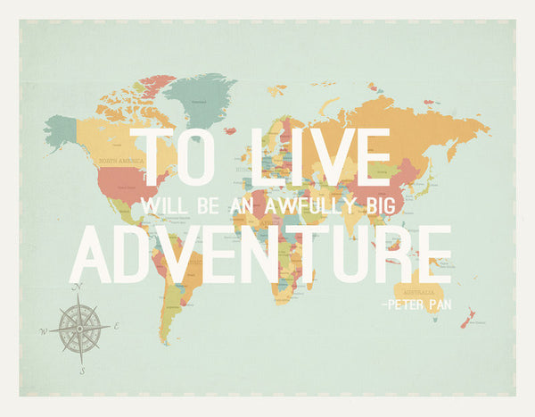 To Live World Map, Canvas or Print, Travel, Inspirational