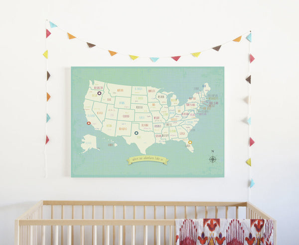My Travels USA Map, Canvas or Print, Travel, Inspirational